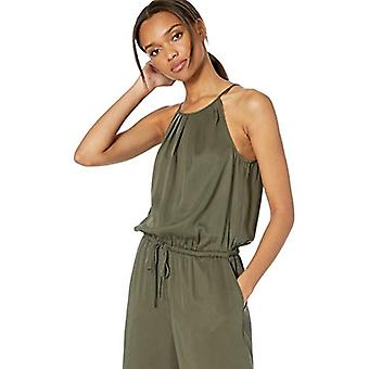 Brand - Daily Ritual Women's Tencel Halter Jumpsuit, Dark Olive, 6