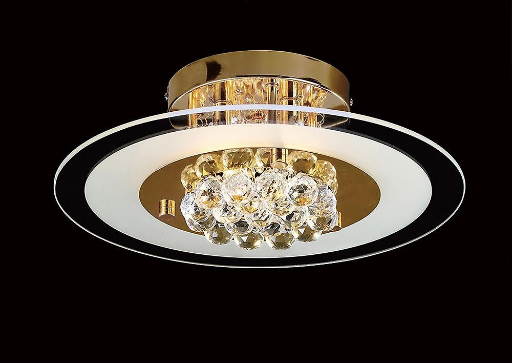 Flush Round 4 Light French Gold, Glass, Crystal