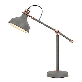 Adjustable Table Lamp, 1 x E27, Sand Grey, Copper, White