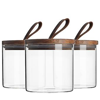 3 Piece Glass Jar With Wooden Lid Storage Container Set - Round Scandinavian Style Airtight Canister - 550ml