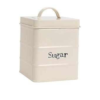 Industrial Sugar Canister - Vintage Style Steel Kitchen Storage Caddy with Lid - Cream