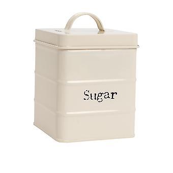 Industriële Suikerbus - Vintage Style Steel Kitchen Storage Caddy met deksel - Cream