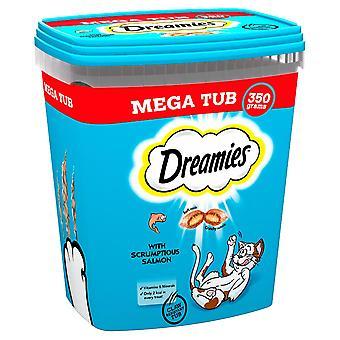 2 x 350g Dreamies Erwachsene Katze behandelt Tubs Tub mit Lachs Katze Kekse (700g)