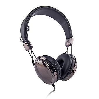 Flash-On metallic hoofdtelefoon - Titanium/Zwart (FLASH-ON-DGB)