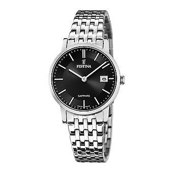 Festina Swiss F20019-3 Women's Black Dial Silver Tone Bracelet Wristwatch