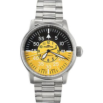 Fortis Men's 595.11.14 M Flieger Cockpit Yellow Automatic Stainless Steel Watch