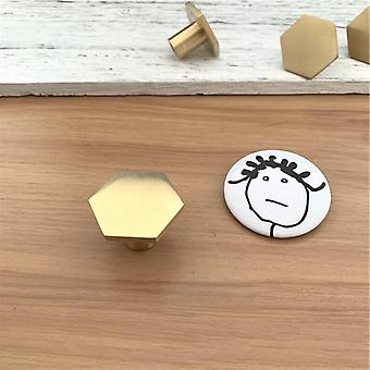 Nordic Style Hexagon Solid Brass Cabinet Knob, Cupboard Handle