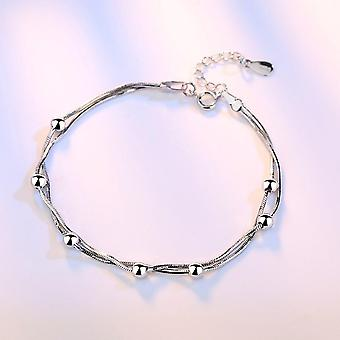 Stamp Sterling Silver Jewelry Woman Bracelet, Retro Square
