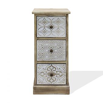 Rebecca Furniture Bedside Table 3 Laden Beige White Retro Ruimte Besparing 63x29x25