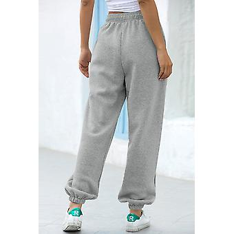 Gray Casual Loose High Waist Jogger Sweatpants