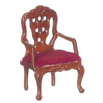 Dolls House Walnut & Red Carved Back Arm Chair Victorian Living Room Furniture