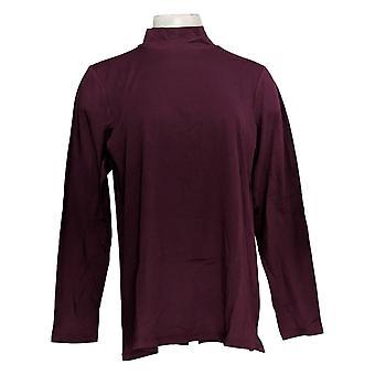 LOGO By Lori Goldstein Women's Top Cotton Modal Mock Neck Purple A366479