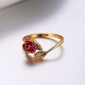 טבעות אצבע בעיצוב ורד אדום