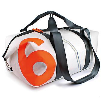 360 degree sports bag in sailcloth cutter XL white with number neon orange, strap grey