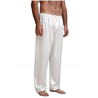 Mens Silk Satin Pyjama Housut, Sleep Bottoms