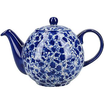 London Pottery Splash Globe Teapot with Strainer, Stoneware, Blue / White, 4 Cup (900 ml)
