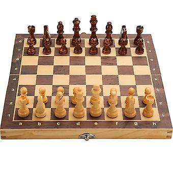 Large Magnetic Wooden Folding Chess Set Felted Game Board 39cm*39cm Interior