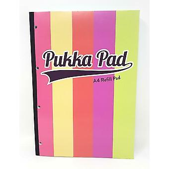 Pukka Pad A4 Stripes Refill Pad Ruled and Margin Side bound 400 Pages 80gsm