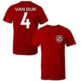 فيرجل فان ديك 4 ليفربول نمط لاعب تي شيرت