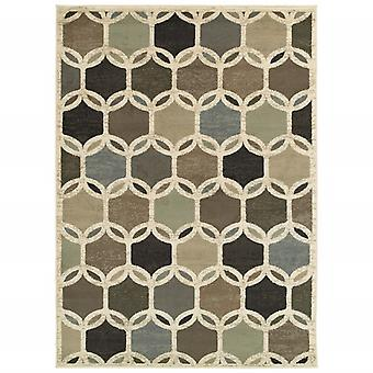 5' x 7'  Ivory Gray Woven Geometric Circles Indoor Area Rug