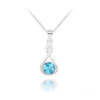 Infinity silver  pendant necklace with aquamarine swarovski crystal