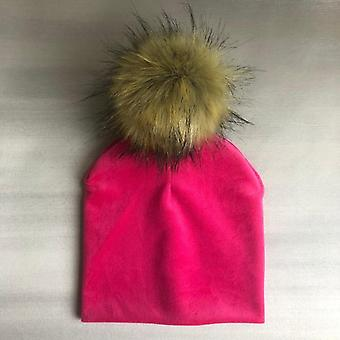 Chapeau en velours massif d'hiver d'hiver avec pompon