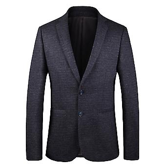 YANGFAN Men's Blazer Solid Color Single Breasted Two Buttons Back Slit