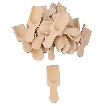 20pcs 7.3x2.4cm madera color natural madera sal cuchara cucharaditas de cocina