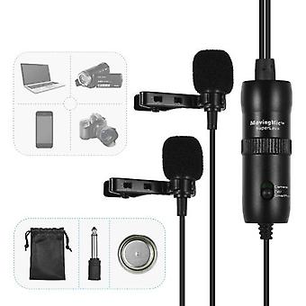 ACEMIC Dual Head Lavalier Microphone Mic Lapel Clip-on Omni-directional Condenser