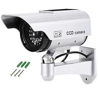 Simulazione Bullet Camera Solar Powered Falso Manichino Sistema di sicurezza antipioggia con luce LED per uso esterno interno