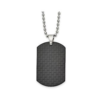 Mens Black Carbon Fiber Dog Tag Pendant Necklace in Stainless Steel with Chain