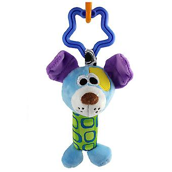 Blue Cartoon Dog Rattling Doll Cute Baby Hanging Toys With Bell For Children Soft Plush Rattle Toys