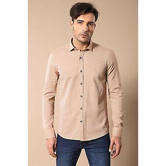 Tan kleur patroon mannen's shirt | wessi wessi