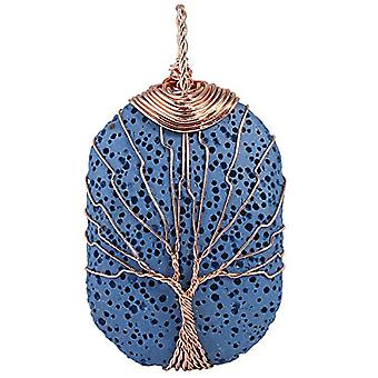 KYEYGWO - Necklace with rectangular pendant in the shape of a tree of life, with lava stone, for women and men, Ref oil diffuser. 0715444118104