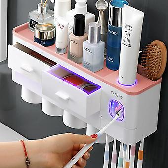 Organisateur d'accessoires de salle de bain Set Toothbrush Holder Dentifrice Distributeur Holder Support mural