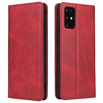 Flip folio leather case for samsung a12 5g red pns-53