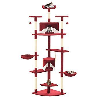 vidaXL Katzen-Kratzbaum mit Sisal-Kratzsäulen 203 cm Rot und Weiß