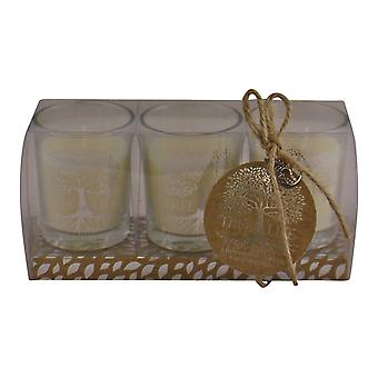 Set Of 3 Tree Of Life Fragranced Votive Candles