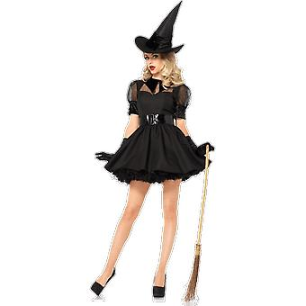 Womens Black Witch Costume With Pointy Hat Halloween Fancy Dress