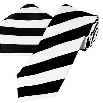 Ties Planet Gold Label Musta & Valkoinen Raidallinen Miesten silkki solmio & tasku neliö nenäliina setti