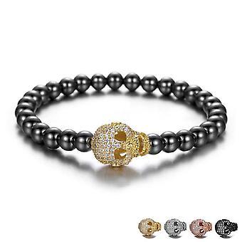 Bracelet avec crâne avec diamants bande élastique zircon unisexe
