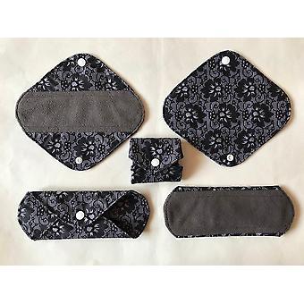 Serviettes menstruelles en bambou au charbon de bois régulier / serviette hygiénique réutilisable