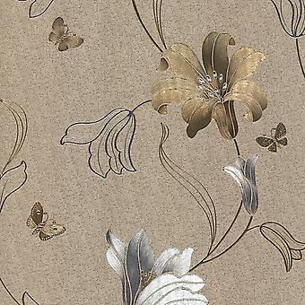 Muriva Amelia blomsterguld sølv tapet 701413
