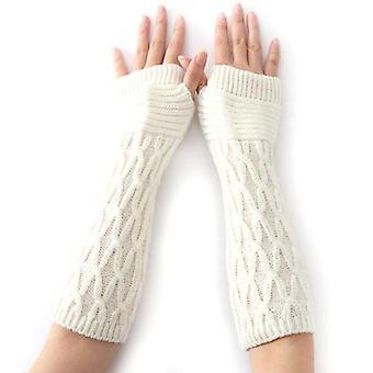 - Jag är inte så bra på det här. Kvinnor Termiska mjuka vantar Armvärmare Skyddade Fingerlösa Långa Stickade Handskar