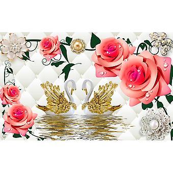 Tapetmaleri 3d veggmaleri fargede svaner og blomster