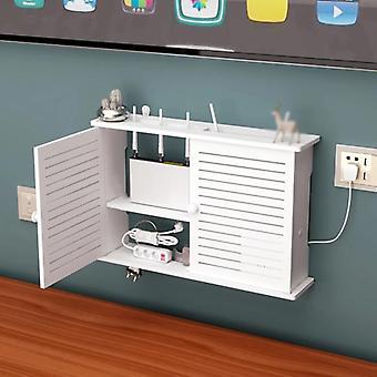 Trådløs Wifi Router Opbevaringsbokse Trækasse Kabel Power Plus Wire Beslag Væg hængende Stik