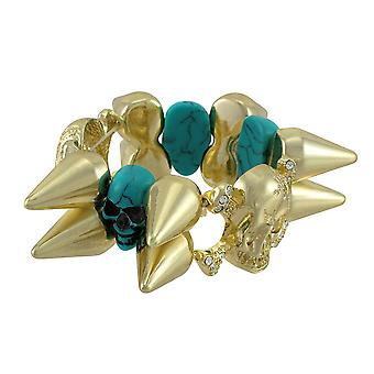 Goud-tone Spiked Stretch armband w / Turquoise schedels