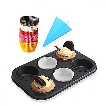 6 koppar muffinsbricka, 100st papperskaka liner och 1 konditoripåse