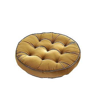 Chaises pure color simple dutch velvet round cushion 58x58cm yellow
