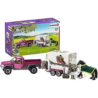 Puppets marionettes n horse club pickup truck box trailer with horse figures 42346